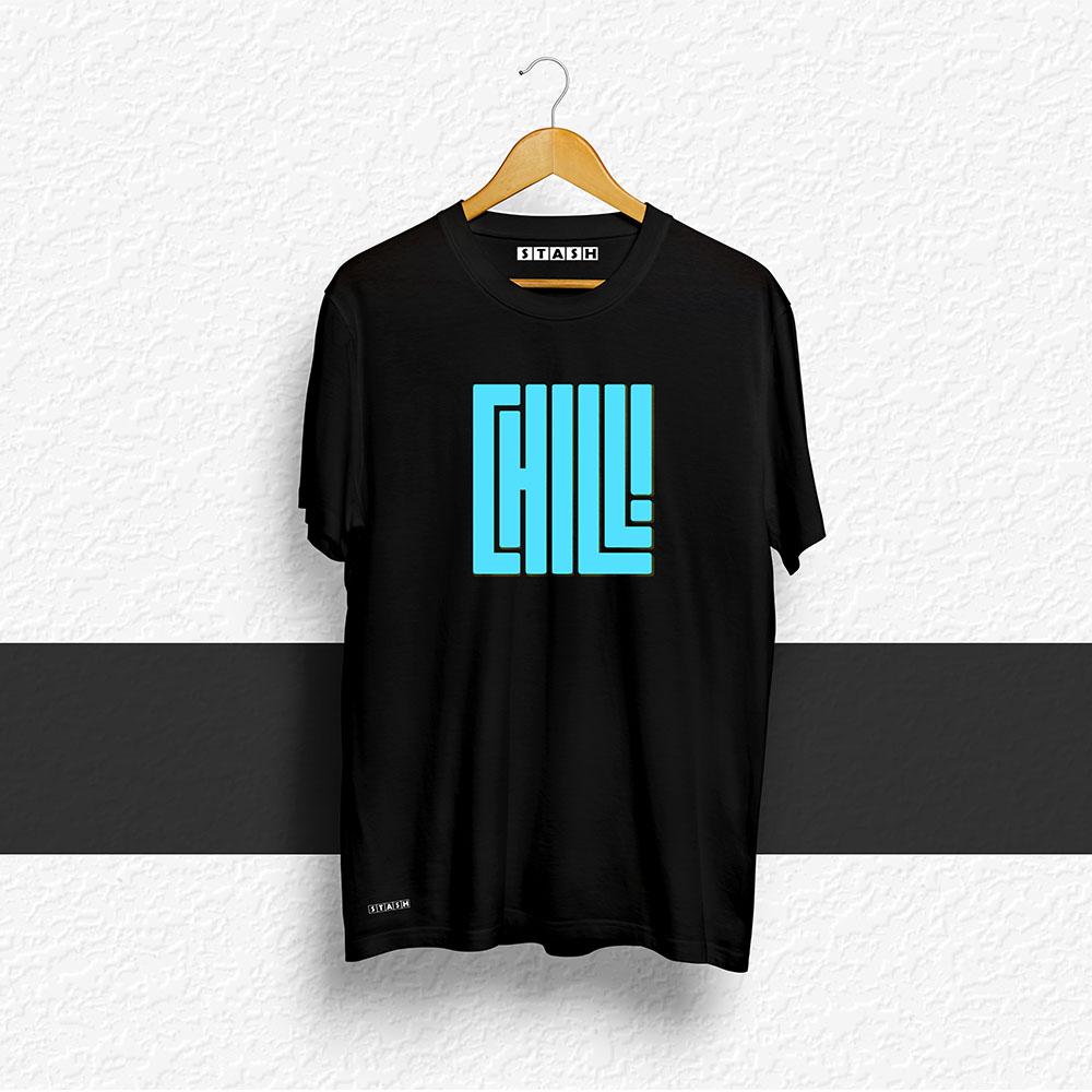 CHILL Black Unisex Printed Tshirt