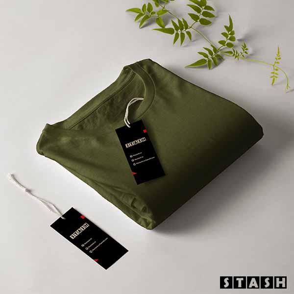 Olive Unisex Plain Full Sleeves Tshirt